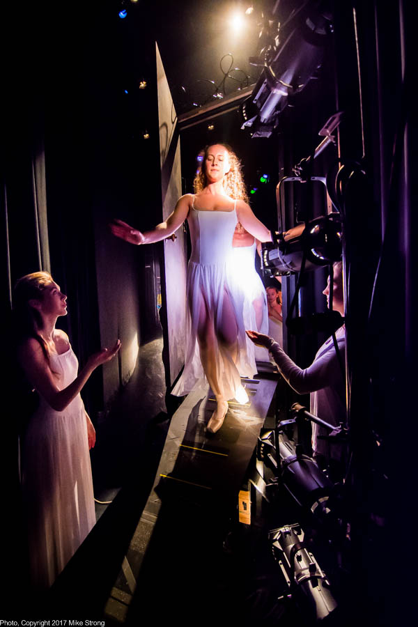 Photo by Mike Strong (KCDance.com) - Backstage view, end of the piece, exiting stage via door over stairway - GHOST us by Ronn Tice