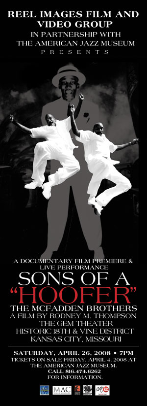 Poster for documentary on McFadden Brothers, Lonnie and Ronnie, by Rodney Thompson - Photo illustration from Reel Images - Photos of the McFadden Brothers by Mike Strong at July 2007 Dancin Feet Festival