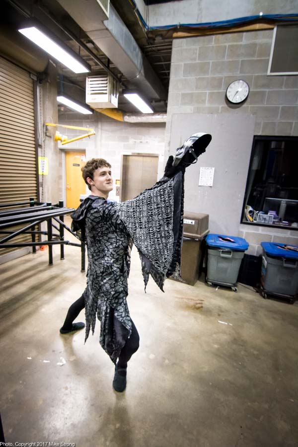 "Asher Wilson (King Katschei in Firebird) using his shadow-king mask for a quick ""Alas, poor Yorick"" backstage"