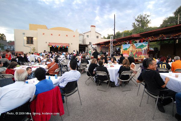 Guest tables in Guadalupe Center outside for dinner and dancing entertainment, early in the evening, pre-show - El Grupo Folklorico Atotonilco 30th Anniversary at Guadalupe 25 September 2009 - photo, copyright 2009 Mike Strong