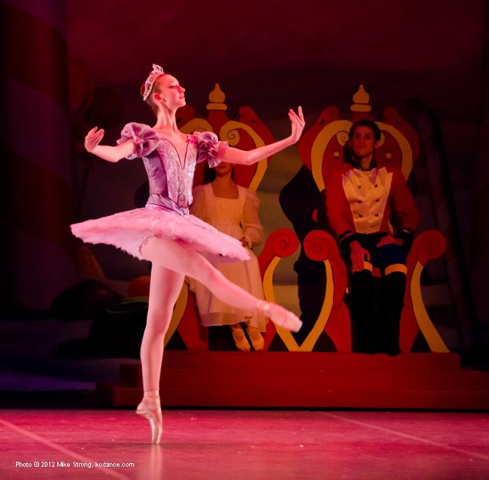 Arel Taylor as the Sugar Plum Fairy - 7pm - In the background are the Nutcracker Prince Joe Flickner and Clara (2pm) Mallerie Moore