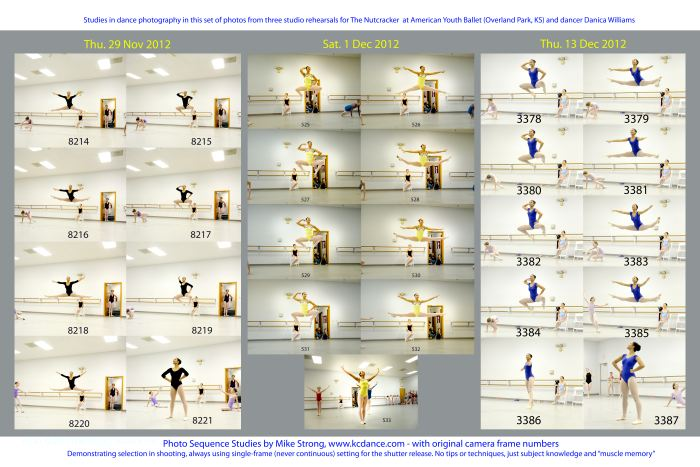 Another study repeating coverage of a sequence in across three rehearsal dates. Not all the individual shots are shots that I would normally choose as a separate picture. But the exercise hones my ability to get precise shots by intent rather than chance. This is not about timing and reactions. All timing and reactions require subject knowledge and listening. That is where the real work comes in.