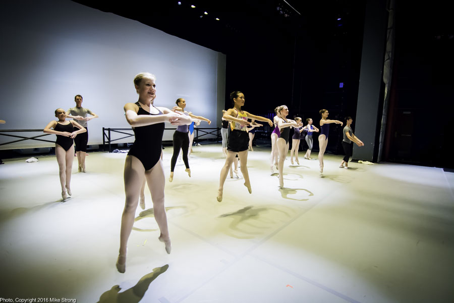 5 pm on stage class before the 7 pm performance with échappé sautés (dancer's high class version of jumping jacks)