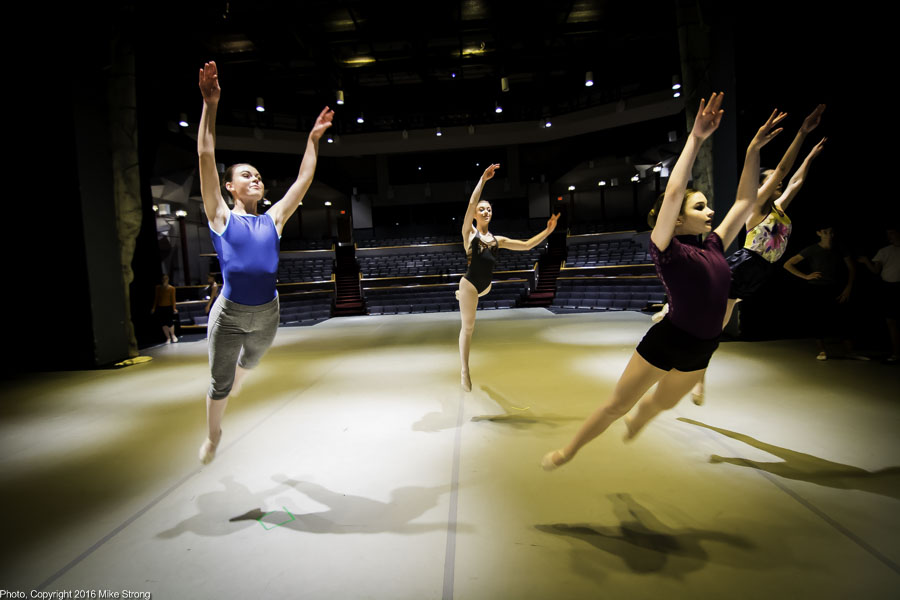 One group doing a tour jete at the 5 pm class on stage before the 7 pm performance - L-R: Rebekah Nelson, Hannah Baillie, Annie Cook