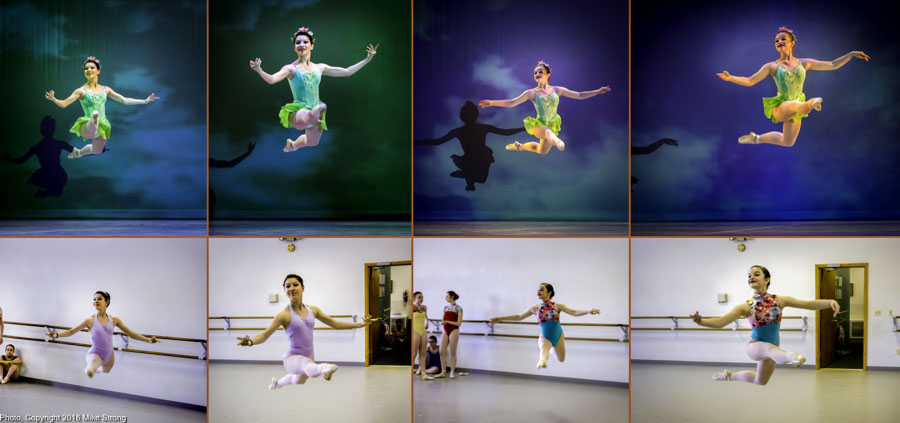 If you think you've seen this elsewhere on the page it is because I prepared earlier versions before I had time to put together this study. As a photographer, I also need practice (rehearsals) to know what is coming up. The study above shows the Spring Fairie roles by (on the left) Elise Johnson and (on the right (Annie Cook). On the bottom are the studio shots and on the top are the shots by the time we get into theater. These show a pair of jetes performed by each dancer. The first one starts upstage center then a second jete heading downstage left. In studio shots, on the first jetes of each pair I shot a bit late. On Elise I was slightly late and on Annie just plain late. I manage to get the right moment for each of the second jetes. On stage they are all at the right spot with maybe a tad late on Annie's the first jete.