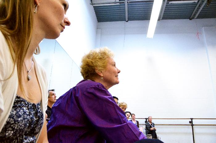 Left to right: KC Ballet dancer Kimberly Cowen, Tudor Trust's Sally Brayley Bliss, watch a Tudor Curriculum class demo in the KC Ballet Studios