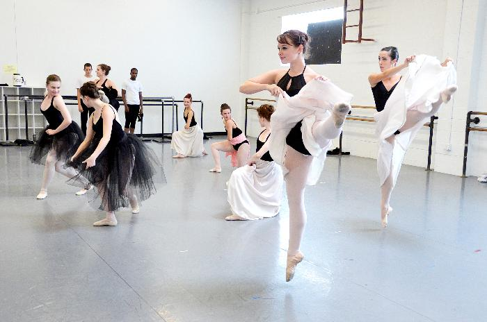 The Can Can number in Antony Tudor's Offenbach and the Underworld - Part of the class / demo at KC Ballet in Studio 3. The dancers are in the KC Ballet School Summer Intensive.
