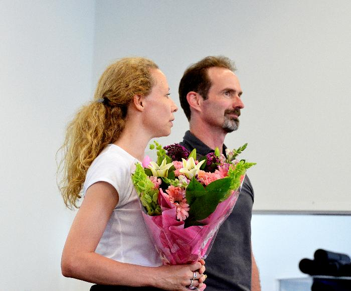 Amanda McKerrow and John Gardner accept flowers for their teaching and guidance in the summer intensive with KCB