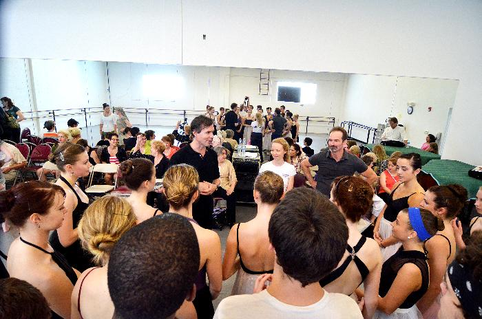 James Jordan, Amanda McKerrow and John Gardner surrounded by students from the summer intensive with KCB