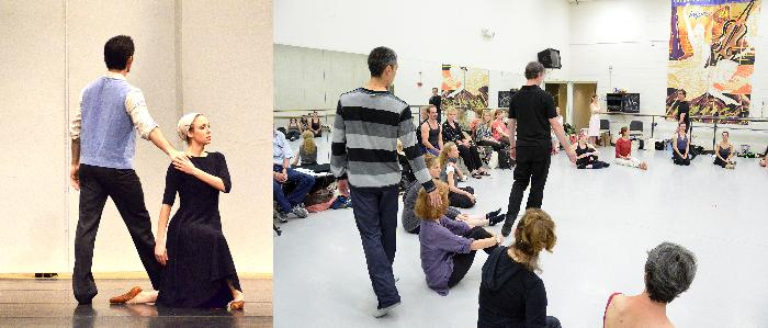 The same moments from resignation section of Dark Elegies by Antony Tudor where a husband and wife in the grieving village touch. Left in a demonstration performance where UMKC student and grads reprised their roles from the UMKC Spring concert (here, Gavin Stewart, Rose Taylor-Spann) along with Webster University students. Right in a workshop with ballet teachers repetiteur and KCB Ballet Master James Jorden (center, in black) leads the exercise.