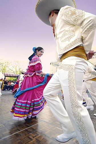 Whitney Boyd and Juan Carlos Chaurand: closest dancers to the camera - performing Jarabe Tapatio (Mexican Hat Dance)