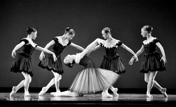 Angelina Sansone with students from the KC Ballet Schoot in Mozartina by George Balanchine