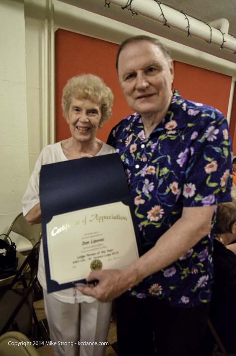 JoAnn and Don Lipovac at Holy Family, just presented with a certificate of appreciation