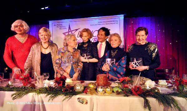 Left to right: Emcee Carol Channing (impersonator Richard Skipper), Marge Beddow, Marge Champion, Nicole Barth, DO40 President John Sefakis, Gemze de Lappé and Billie Mahoney - receiving Legacy Awards from Dancers Over 40 in NYC - Photo Mike Strong