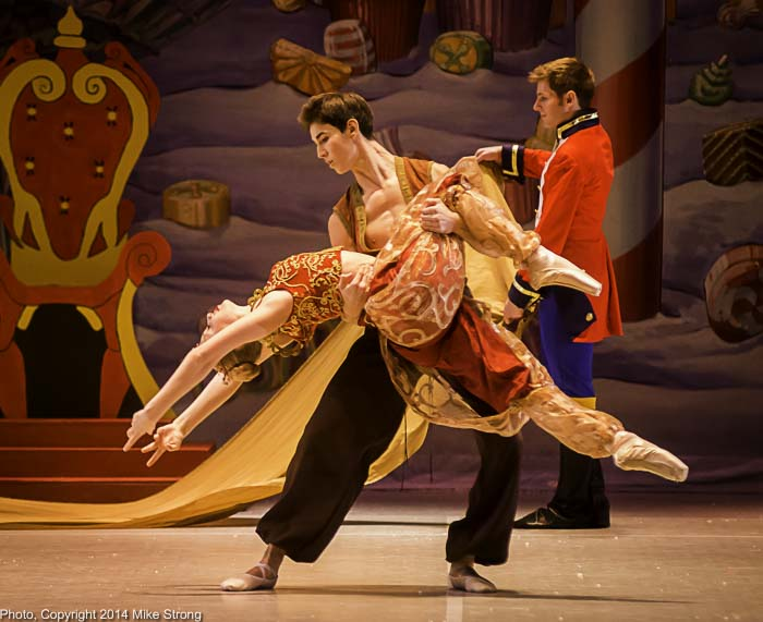 Dena'h Gregory (2pm cast) and Seth York in the Arabian roles - Joe Flickner as the Nutcracker Prince behind
