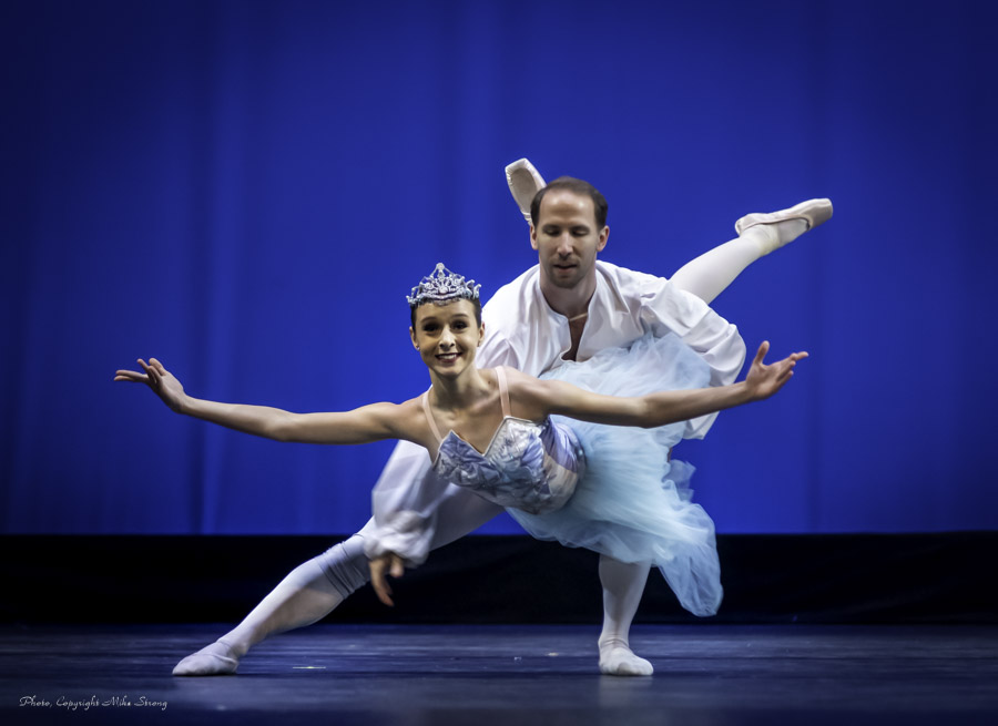 Snow Queen Julia Walewicz and Snow King Ben Rabe, in dress (above) and below in practice before dress performance