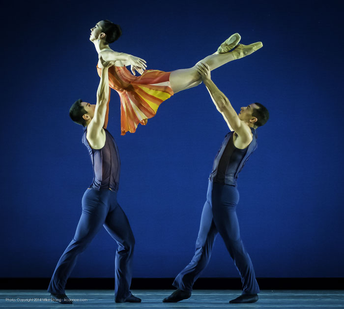 Sequence (top to bottom) with Liang Fu, Danielle Bausinger and Michael Davis in Concertino by Amy Seiwert for KC Ballet