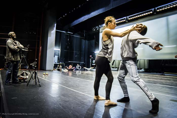 Tech rehearsal in Polsky theater with Robert Moses (left) and (right) Alessandra Perdichizzi and Kevin Tate in Heart Thieves by Robert Moses for Wylliams-Henry Contemporary Dance Co.