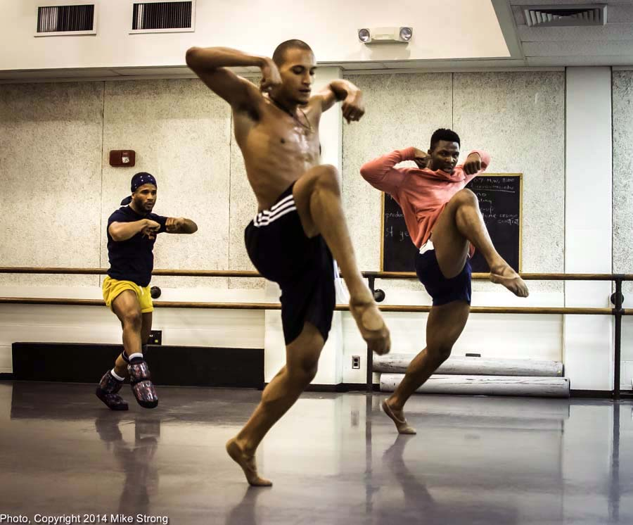 New Dance Partners 2015 at JCCC (Sept) - Wylliams-Henry and Twisted Metal - Studio rehearsal - Left-Right: Winston Dynamite Brown, Isaiah Bindel (from DawsonDanceSF Demonstrating), John Swapshire (left)