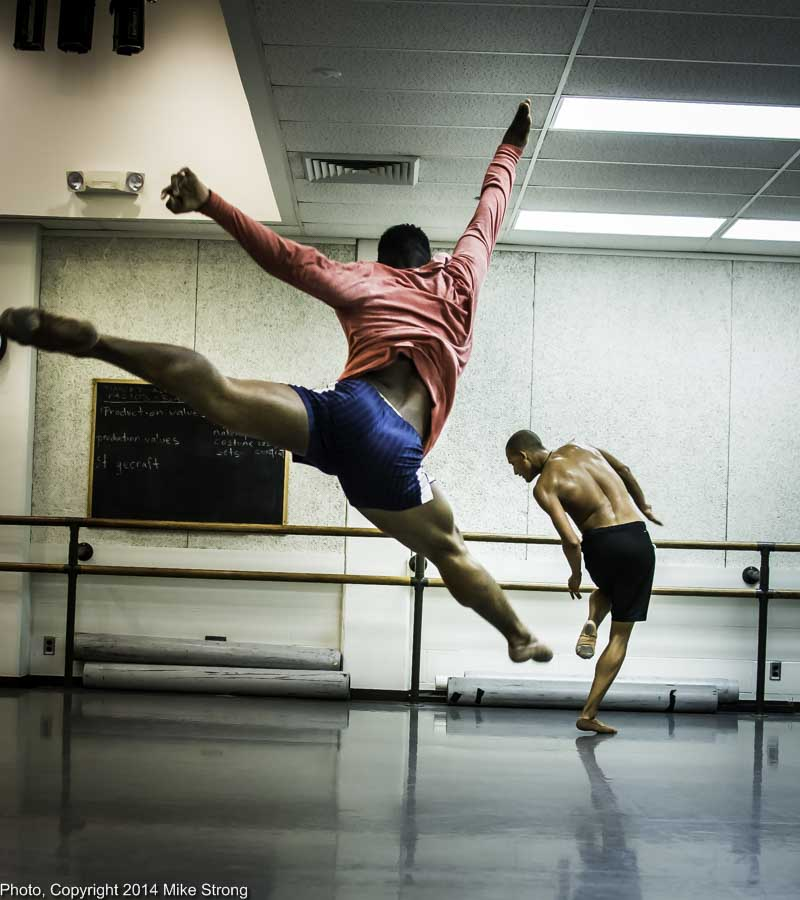 New Dance Partners 2015 at JCCC (Sept) - Wylliams-Henry and Twisted Metal - Studio rehearsal - John Swapshire completing leap and Isaiah Bindel (from DawsonDanceSF)