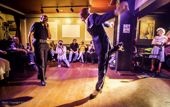 Bothers Ronald (left) and Lonnie (center) McFadden at tap jam in Uptown Arts Bar on National Tap Dance Day celebration