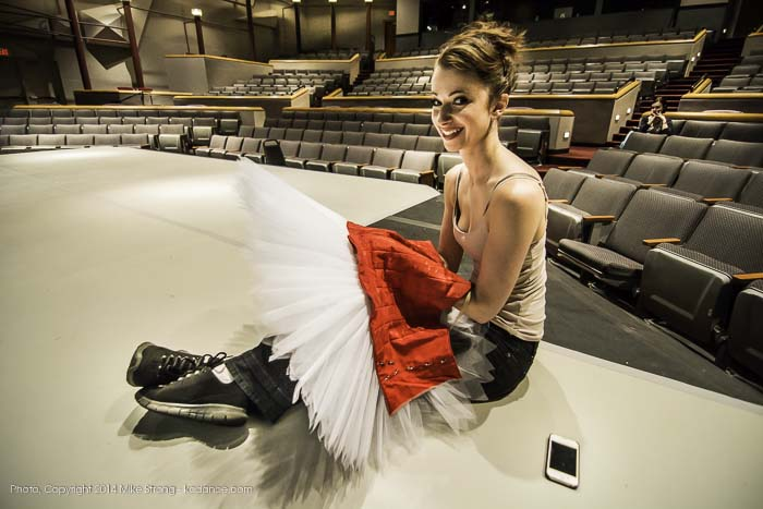 Jennifer Tierney, sewing a tutu during notes - see yah view