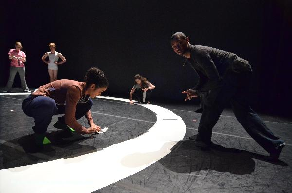 Preparing the circle for Symbolic Logic by Sean Curran: Front: L-R: Asha Singh, Desmond Roach, in back is Hannah Benditt