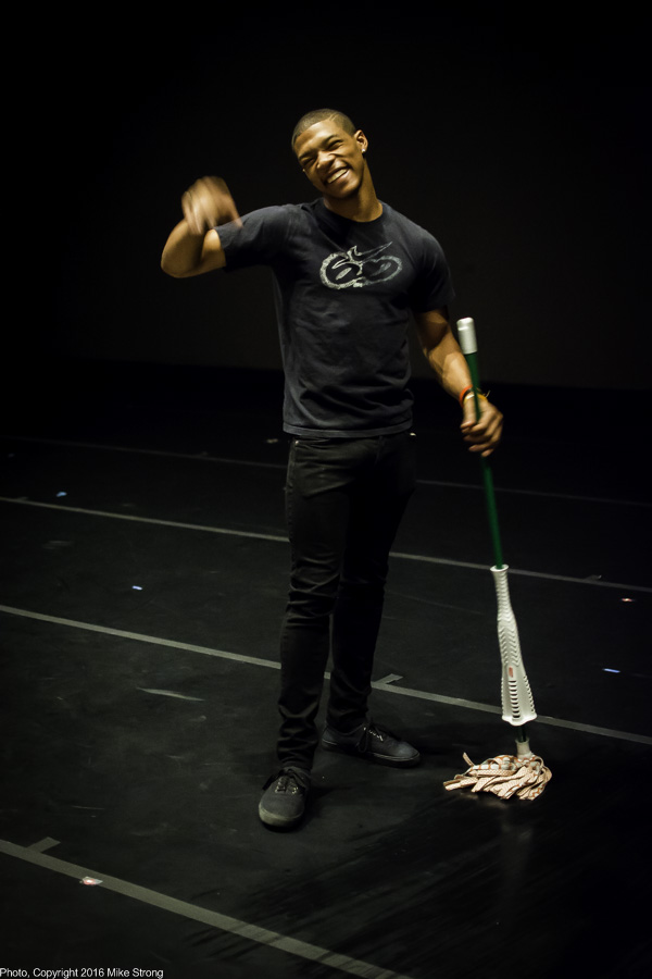 Dancer DaJuan Johnson, on crew, swabbing the Marley before performances, and .... tapping while he was doing it (good tap dancer)