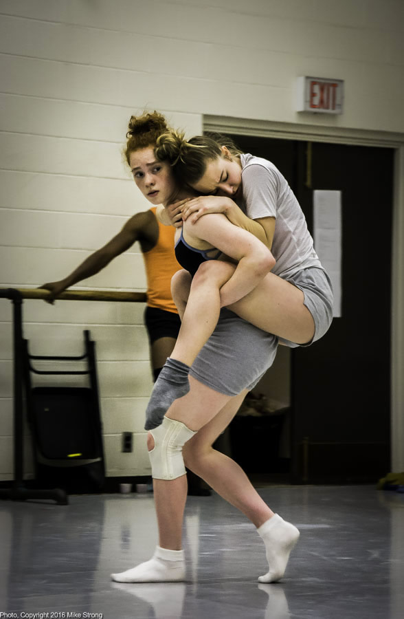Studio Rehearsal - Sarah Fragenberg carries Kelsey Crawford in Between a Crease ... by Kaylin Horgan