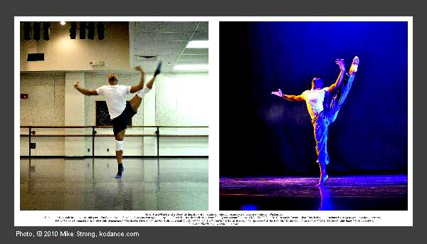 Christopher Barksdale with an extension during the Cyprus Avenue number in studio and on stage, the same moment.