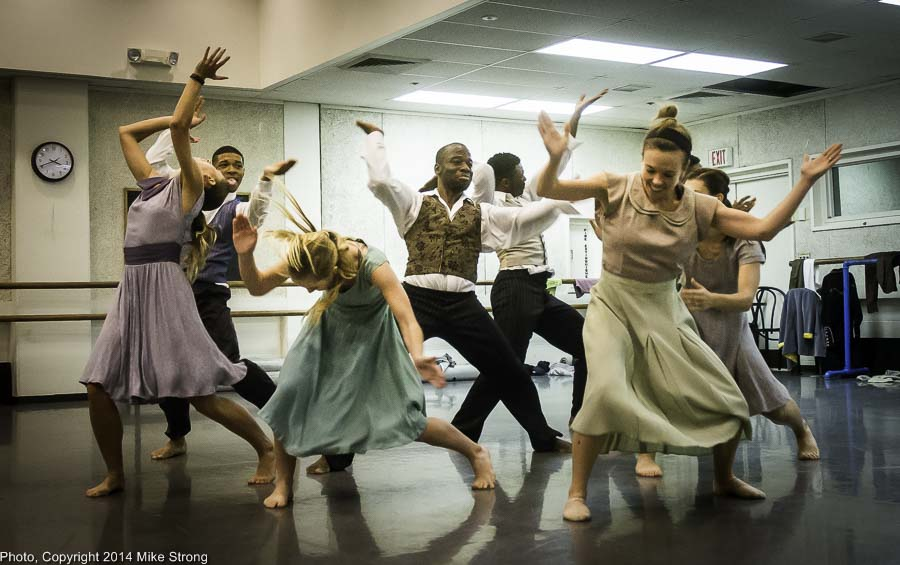 Hands on the Plow - studio run thu - Choreo by Telly Fowler who is the dancer in the middle L-R: Christina Mowrey, John Swapshire, Kelsey Crawford, Telly, Winston Brown, Katie Jenkins, Caroline Fogg