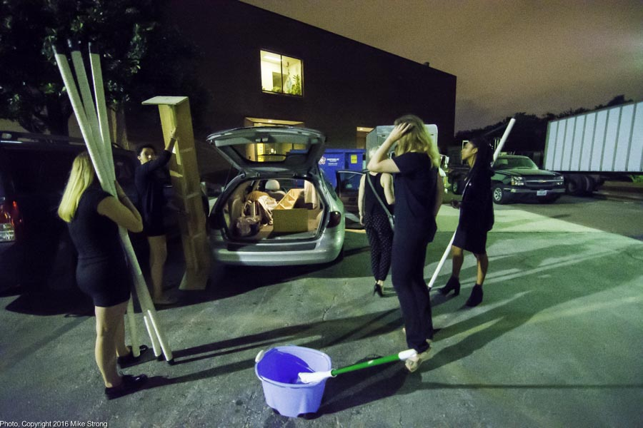 "Loading props from ""To Have and To Hold"" and from ""Rippling Souls"" into Mary Pat Henry's station wagon"