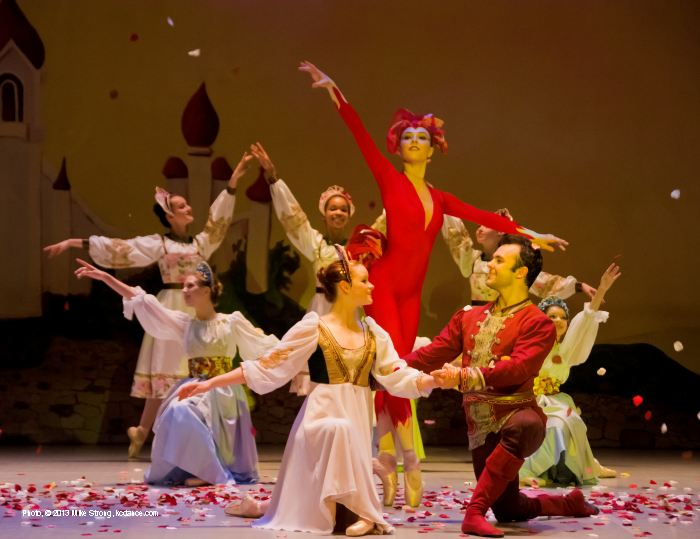 Firebird finale: Emily Tatham (in red, as the Firebird), Meredith Green (left front, as Princess) and Erik Sobbe (Prince Ivan)