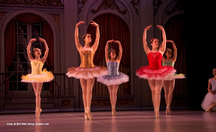 Sleeping Beauty: Fairy Variations I, Juliana Kuhn and Variation II, Sydney Wilson in front with Fairy Attendants